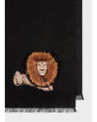 Paul Smith - Black Écharpe Noire Broderie Lion En Laine for Men - Lyst