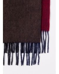 Paul Smith Multicolor Men's Burgundy Watercolour Shades Lambswool Scarf for men