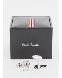 Paul Smith Metallic Multi-coloured Stripe 'zebra' Cufflinks for men