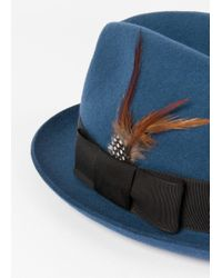 Paul Smith - Blue Men's Petrol Wool-felt Trilby With Feather for Men - Lyst