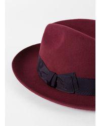 Paul Smith - Red Men's Burgundy 'mayfair' Wool Fedora Hat for Men - Lyst