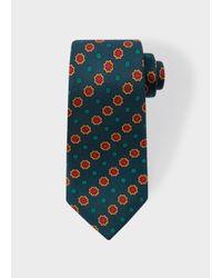 Paul Smith | Men's Fir Green Polka Dot Floral Narrow Silk Tie for Men | Lyst