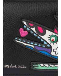 Paul Smith Black 'karami Crocodile' Appliqué Folded Leather Wallet