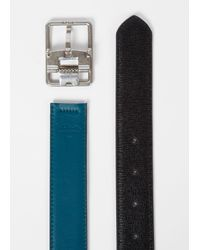 Paul Smith Men's Black Saffiano And Petrol Leather Cut-to-fit Reversible Belt for men