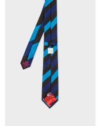 Paul Smith Blue Diagonal Stripe Narrow Silk Tie With 'ocean' Lining for men