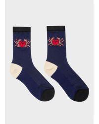 Paul Smith Blue Women's Navy 'crab' Motif Semi-sheer Socks