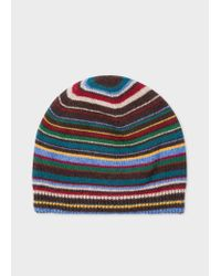 Paul Smith Multicolor Signature Stripe Wool-cashmere Beanie Hat for men