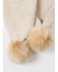 Paul Smith - Natural Women's Beige Lambswool Scarf With Faux Fur Bobbles - Lyst