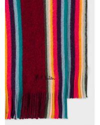 Écharpe Homme Bordeaux 'Artist Stripe' En Laine Mérinos Paul Smith pour homme en coloris Red