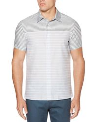 Perry Ellis Blue Short Sleeve Two Toned Striped Shirt for men