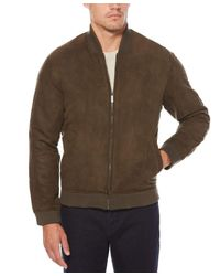 Perry Ellis Brown Faux Suede Bomber Jacket for men