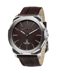 Perry Ellis Decagon Brown Leather Watch for men