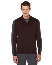 Perry Ellis - Brown Colorblock Shawl Collar Sweater for Men - Lyst