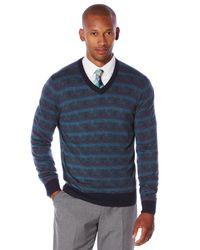 Perry Ellis | Blue Multi Color Pattern V-neck Sweater for Men | Lyst