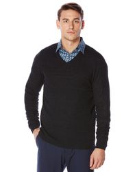 Perry Ellis | Black Solid Textured V-neck Sweater for Men | Lyst