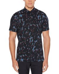 Perry Ellis - Blue Big & Tall Short Sleeve Camo Print Shirt for Men - Lyst