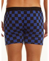 Perry Ellis - Black Checkered Solid Trim Cotton Boxer for Men - Lyst
