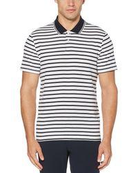 Perry Ellis White Jacquard Stripe Polo for men