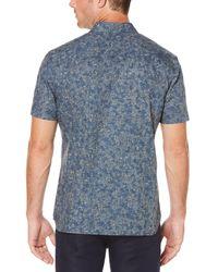 Perry Ellis Blue Short Sleeve Tonal Branch Button-down Shirt for men
