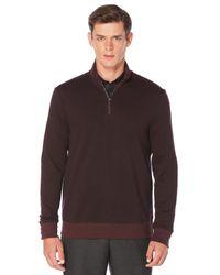 Perry Ellis Brown Herringbone Quarter Zip Jacket for men