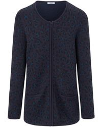 mayfair by Peter Hahn Blue Strickjacke Rundhals-Ausschnitt blau