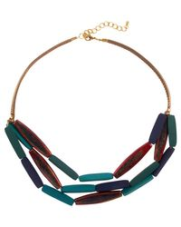 Phase Eight Multicolor Multi Row Wooden Necklace
