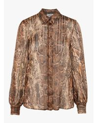 Liu Jo Multicolor Printed Voile Shirt With Classic Collar