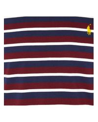 Polo Ralph Lauren Blue Round-neck Embroidered-logo Striped Slim-fit Cotto for men