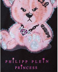 "Philipp Plein - Black T-shirt Round Neck Ss ""popps"" - Lyst"
