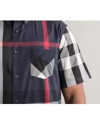 Burberry Blue 'thornaby' Luxury Cotton House Checked Short Sleeved Shirt Navy for men