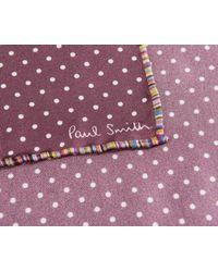 Paul Smith Purple Polka Dot Silk Pocket Square Wine for men