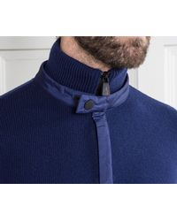 Moncler Grenoble 1/4 Zip Knit With Panel Detail Blue for men