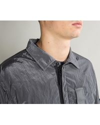 Stone Island Gray Lined Nylon Metal Shacket Anthracite for men