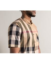 Burberry Natural 'thornaby' Luxury Cotton House Checked Short Sleeved Shirt Camel for men