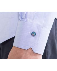 Paul Smith Enamel Charm Button Shirt Blue Sky for men