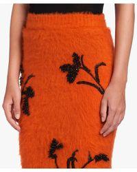 Prada - Orange Embroidered Knit Skirt - Lyst