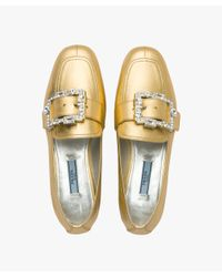Prada - Metallic Leather Moccasins With Crystals - Lyst