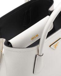Prada White Small Saffiano Leather Double Bag