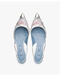 Prada - Blue Printed Leather Pointy Toe Slingback Pumps - Lyst