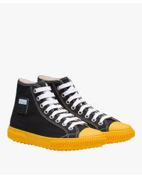 Prada - Black High-top Cotton Sneakers for Men - Lyst