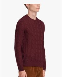 Prada Red Cable-knit Cashmere Crew-neck Sweater for men