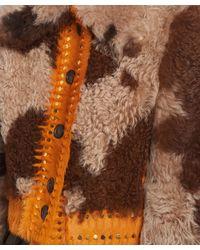 Prada Natural Shearling Jacket With Metal Studs