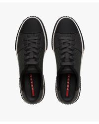 Prada - Gray Technical Mesh And Leather Sneakers for Men - Lyst