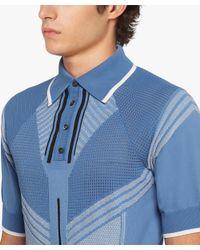 Prada - Blue Nylon Jacquard Polo Shirt for Men - Lyst