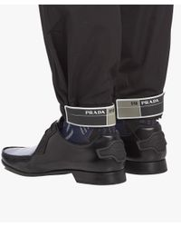 Prada - Black Cotton Trousers With Elasticized Straps for Men - Lyst