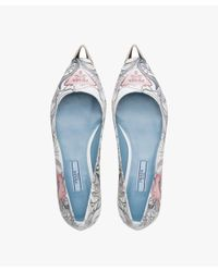Prada - Blue Printed Kid Leather Ballerinas - Lyst