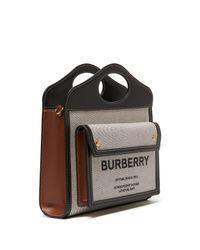 Mini sac Pocket en toile et cuir Burberry en coloris Natural
