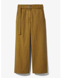 PROENZA SCHOULER WHITE LABEL Green Belted Washed Cotton Pants