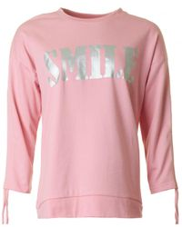 Saint Tropez Pink Smile Ruched Sleeve Sweat