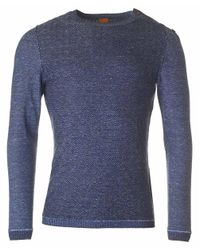 BOSS Orange   Blue Akert Shoulder Button Knit for Men   Lyst